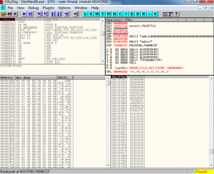 Breakpoint hit in the OllyDbg debugger.
